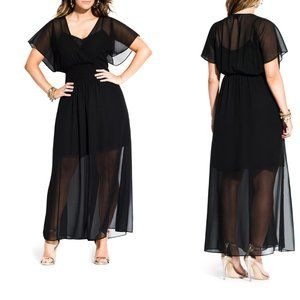 City Chic Spirited Maxi Dress in Black